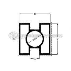 Κολώνα Στήριξης Τετράγωνη 40x40 Με 2 Πλευρές / Βάρος 0,990 Kgr/m