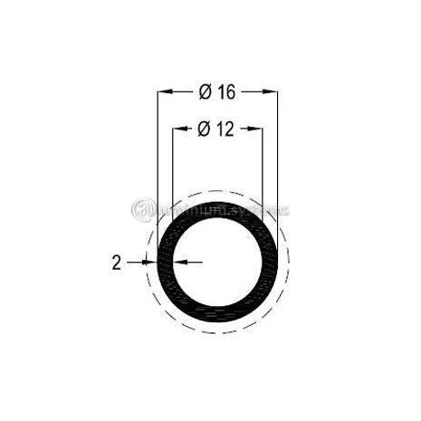 Προφίλ Ανοδίωσης Φ16 X 2 Eco Βάρος 0,238 Kgr/M