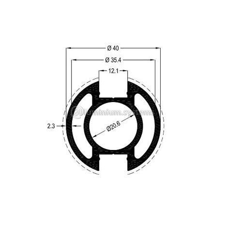 Κολώνα Στήριξης Φ40 Βάρος 1,219 kgr/m
