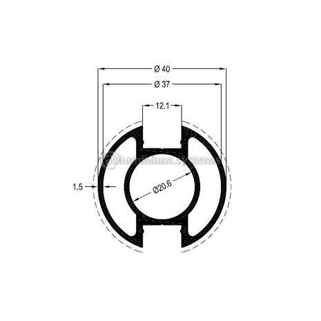 Κολώνα Στήριξης Φ40 Βάρος 0,904 kgr/m