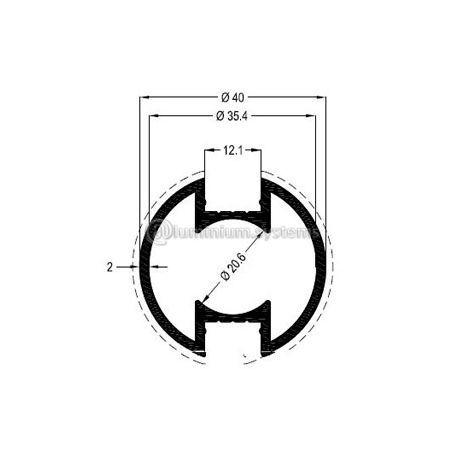Κολώνα Στήριξης Φ40 Βάρος  0,848 kgr/m