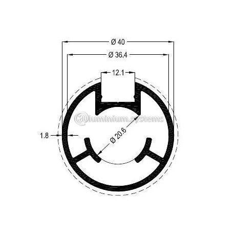 Κολώνα Στήριξης  Φ40 Βάρος 0,853 kgr/m